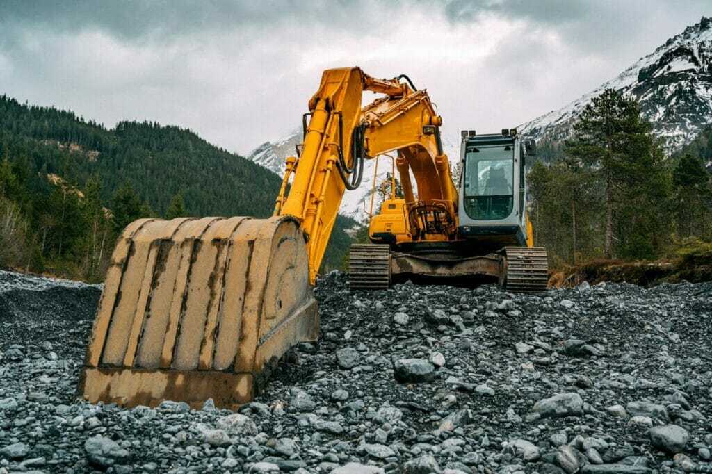 excavator pictured in the foothills of the Appalachian mountains